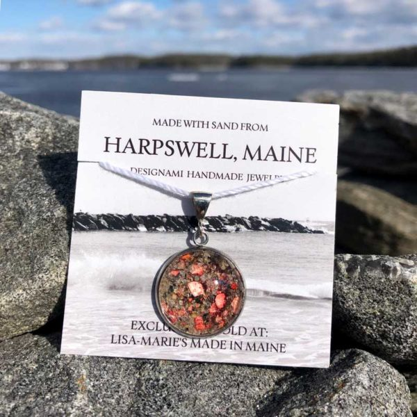 Large Harpswell Sand Pendant with Crushed Lobster Shell