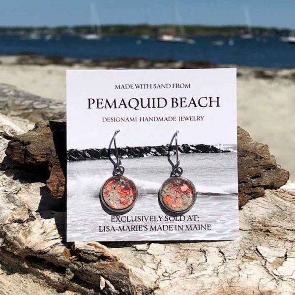 Pemaquid Beach Sand Earrings with Crushed Lobster Shell