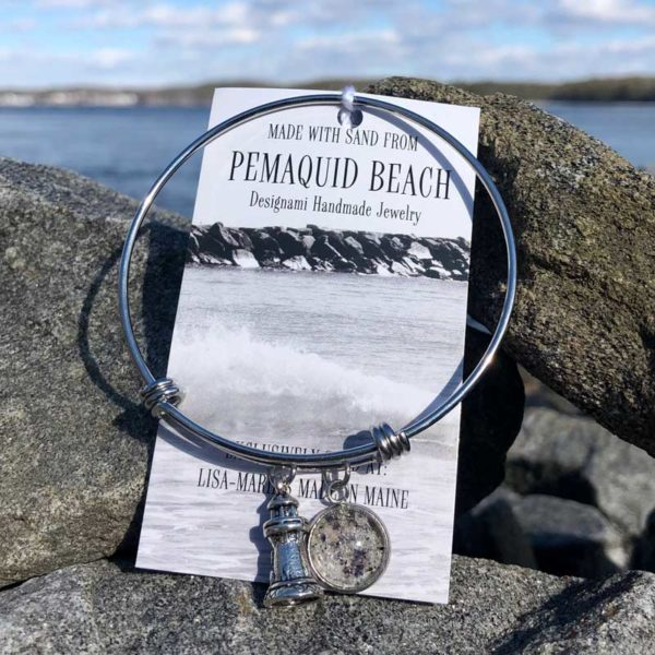 Pemaquid Beach Sand Bangle Bracelet with Crushed Mussel Shell