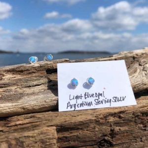 Light Blue Opal Studs in Argentium Sterling Silver