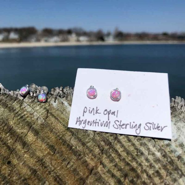 Pink Opal Studs wrapped in Argentium Sterling Silver