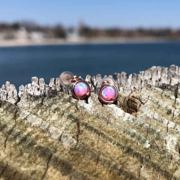 Pink Opal Studs wrapped in Rose Gold Fill