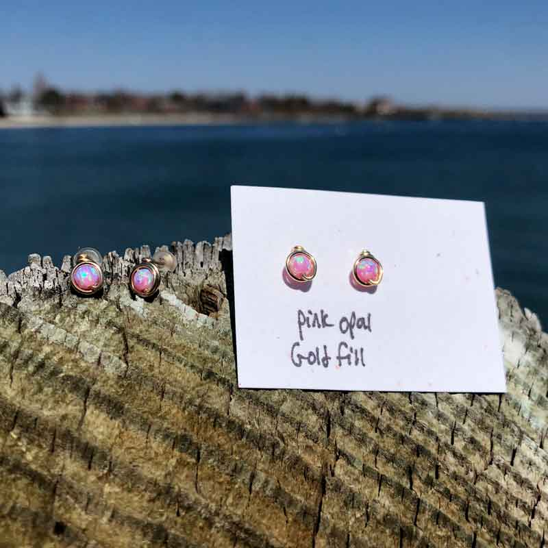 Pink Opal Studs wrapped in Gold Fill