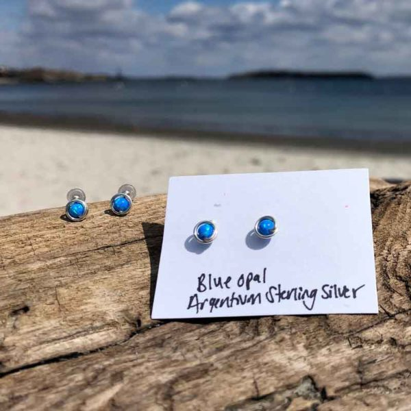 Blue Opal Studs wrapped in Argentium Sterling Silver