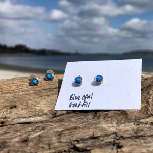 Blue Opal Studs wrapped in Gold FIll