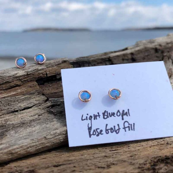 Light Blue Opal Studs wrapped in Rose Gold Fill