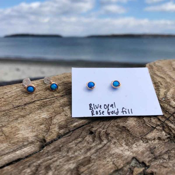 Blue Opal Studs wrapped in Rose Gold Fill