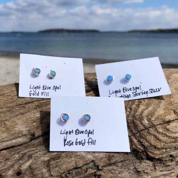 Light Blue Opal Studs