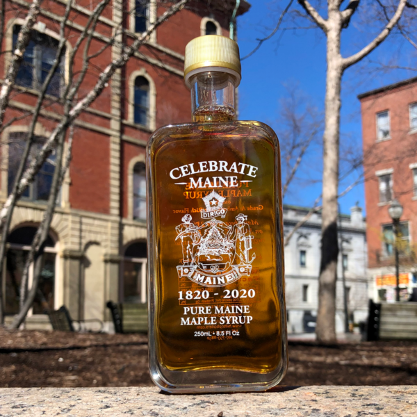 Grade A, Amber, Maine Maple Syrup in a commemorative Bicentennial bottle.