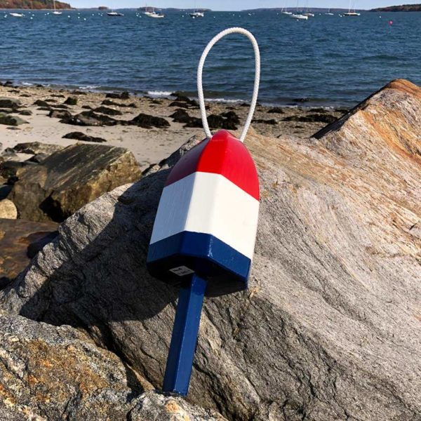 Small Glossy Red, White & Blue Lobster Buoy with Rope