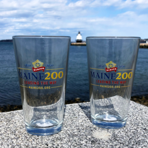 Maine Bicentennial Pint Glasses with Dirigo Logo.