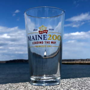 Maine Bicentennial Pint Glass with Dirigo Logo.