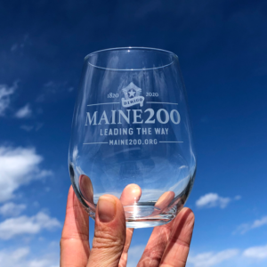 Maine Bicentennial Stemless Wine Glass with Dirigo Logo.