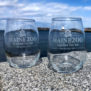 Maine Bicentennial Stemless Wine Glasses with Dirigo Logo.