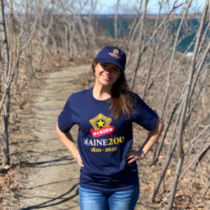 Navy Blue, Maine Bicentennial Hat and T-Shirt with Dirigo Logo.