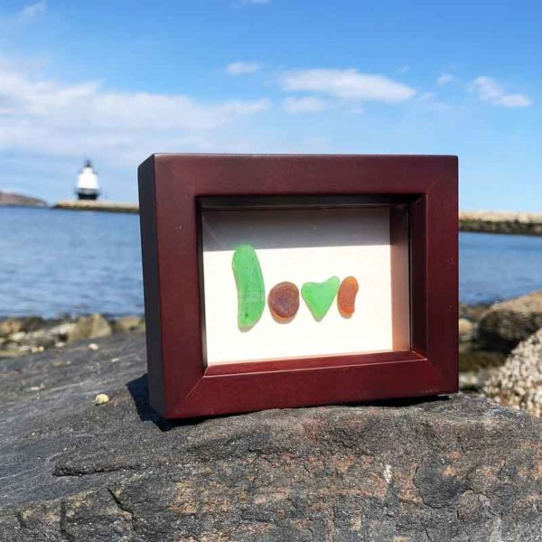 Love Sea Glass Frame | Brown & Green Sea Glass