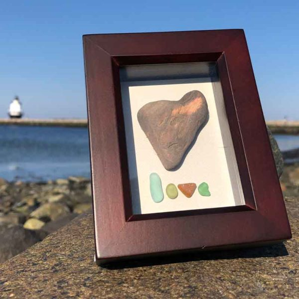 Sea Glass Love | Heart Rock with Sea Glass