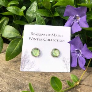 Light Green Holly & Peony Petal Stud Earrings.