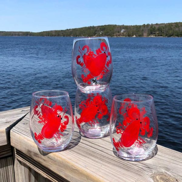 Lobster, Stemless, Wine Glasses.