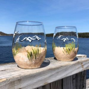 Beach Scene, Stemless, Wine Glasses.