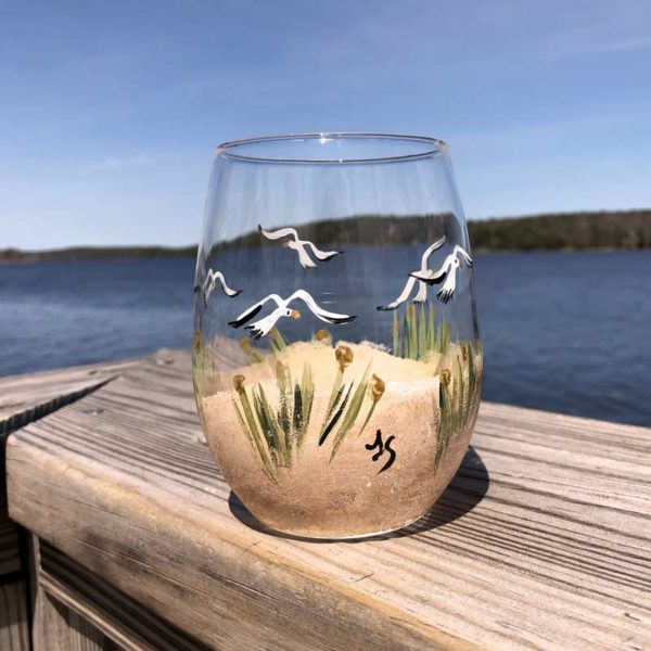 Beach Scene Stemless Wine Glass