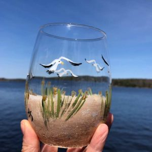 Beach Scene, Stemless, Wine Glass.