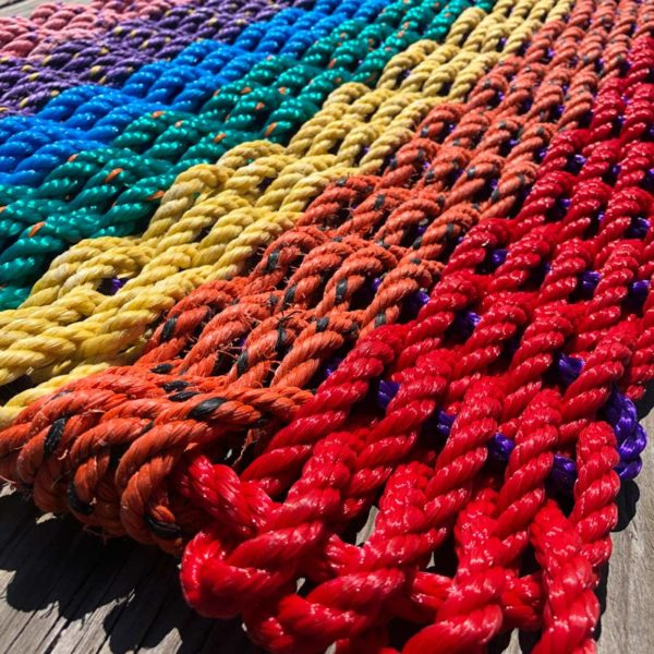 Rainbow, Lobster Rope Doormat, made with re-claimed lobster rope.