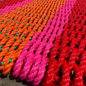 Red, Pink & Orange, Lobster Rope Doormat, made with re-claimed lobster rope.