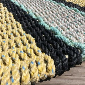Yellow, Black & White, Lobster Rope Doormat, made from re-claimed lobster rope.