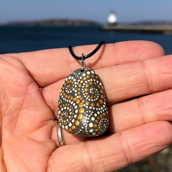 Gold & White, Dot, Beach Stone Necklace.