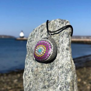 Purple & Gold Dot Beach Stone Necklace