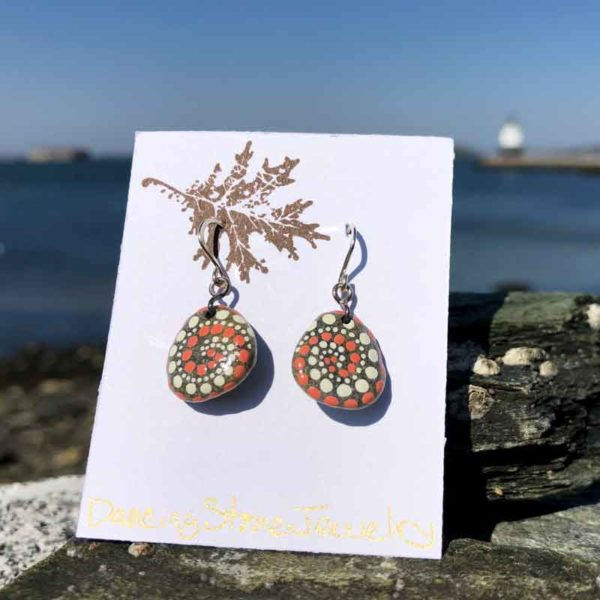 Coral & White Dot Hand Painted Beach Stone Earrings
