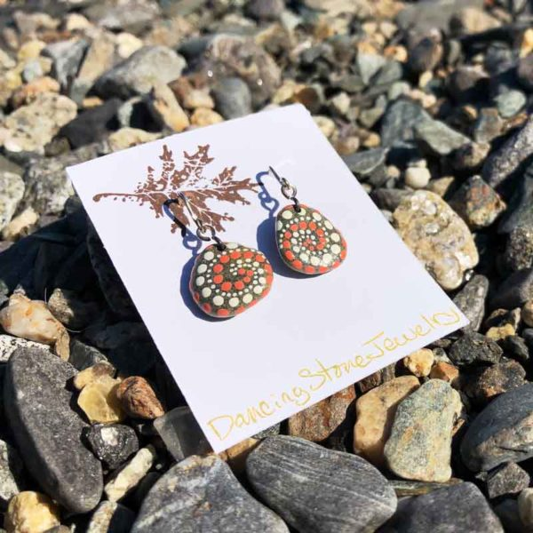 Coral & White, Dot, Hand Painted, Beach Stone, Earrings.