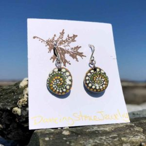 Olive Gold & White Dot Hand Painted Beach Stone Earrings