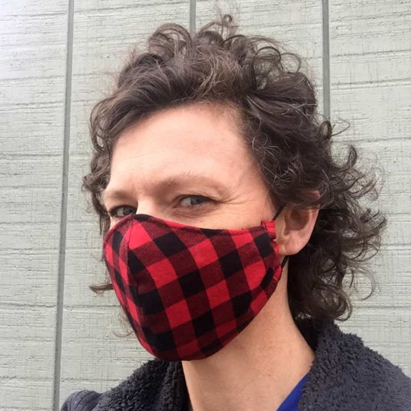 Maine Made Mask in Buffalo Plaid, Women's size.