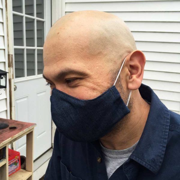 Maine Made Mask in Men's Denim with adjustable ear bands.