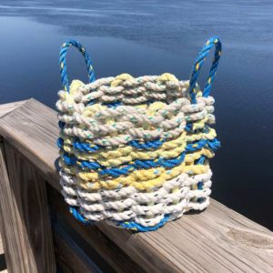 White, Blue & Yellow Lobster Rope Basket