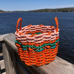 Orange, Green & Peach Lobster Rope Basket