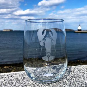 Lobster, Etched, Stemless Wine Glass.