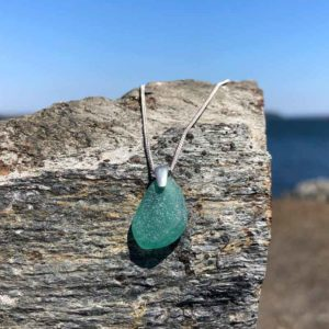 Teal, Sea Glass, Necklace.