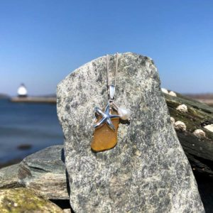 Amber Sea Glass Necklace with Starfish & Pearl