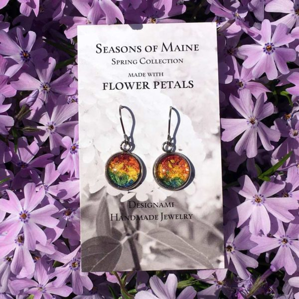 Rainbow Flower Petal Earrings