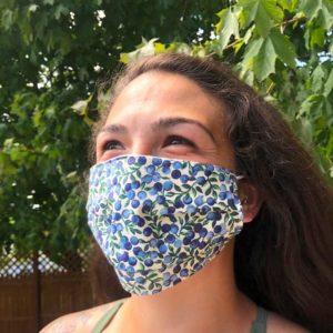 Pleated Maine Made Mask - Blueberries on White