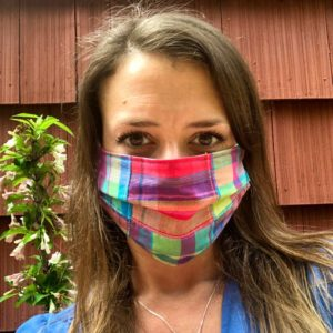 Rainbow Plaid Pleated Maine Made Mask