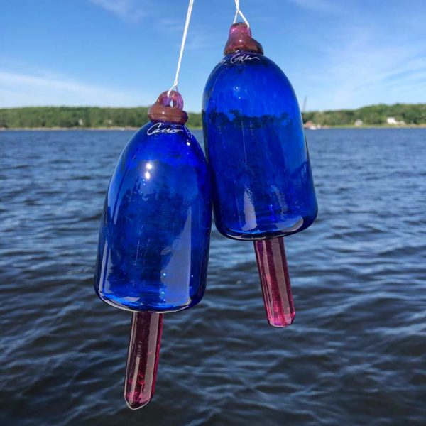 Cobalt Blue and Purple Spindle Blown Glass Lobster Buoy
