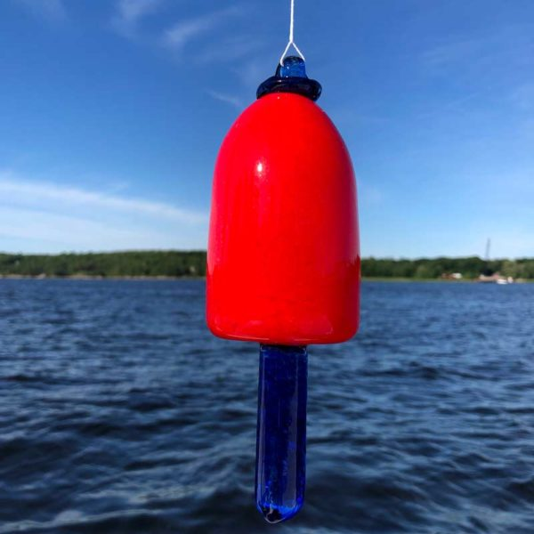 Red Body with Cobalt Blue Spindle Blown Glass Lobster Buoy