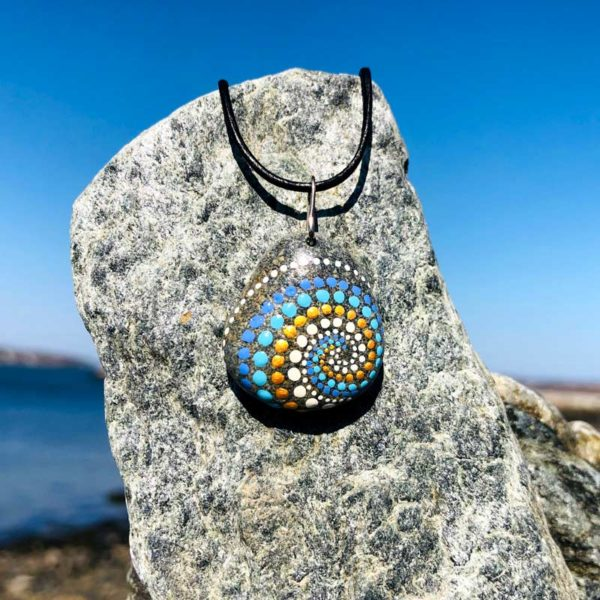 Teal & Gold Dot Beach Stone Necklace