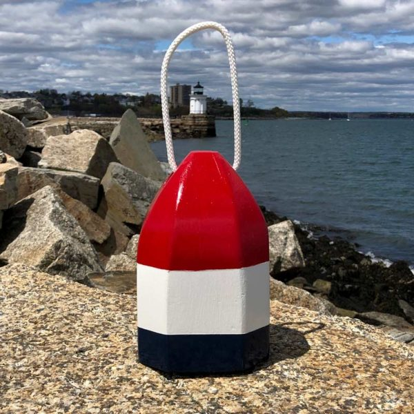 Small Red, White & Blue Glossy, Lobster Buoy, Centerpiece.