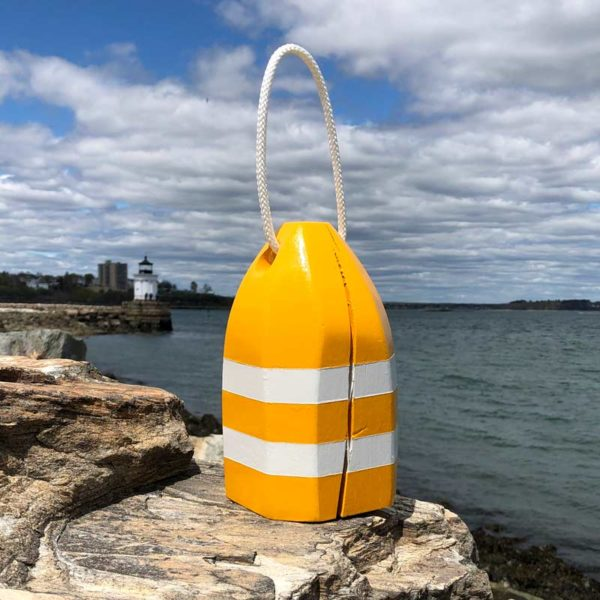 Small Glossy Yellow & White Lobster Buoy Centerpiece