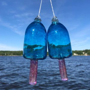 Cerulean Body with Purple Spindle Blown Glass Lobster Buoy